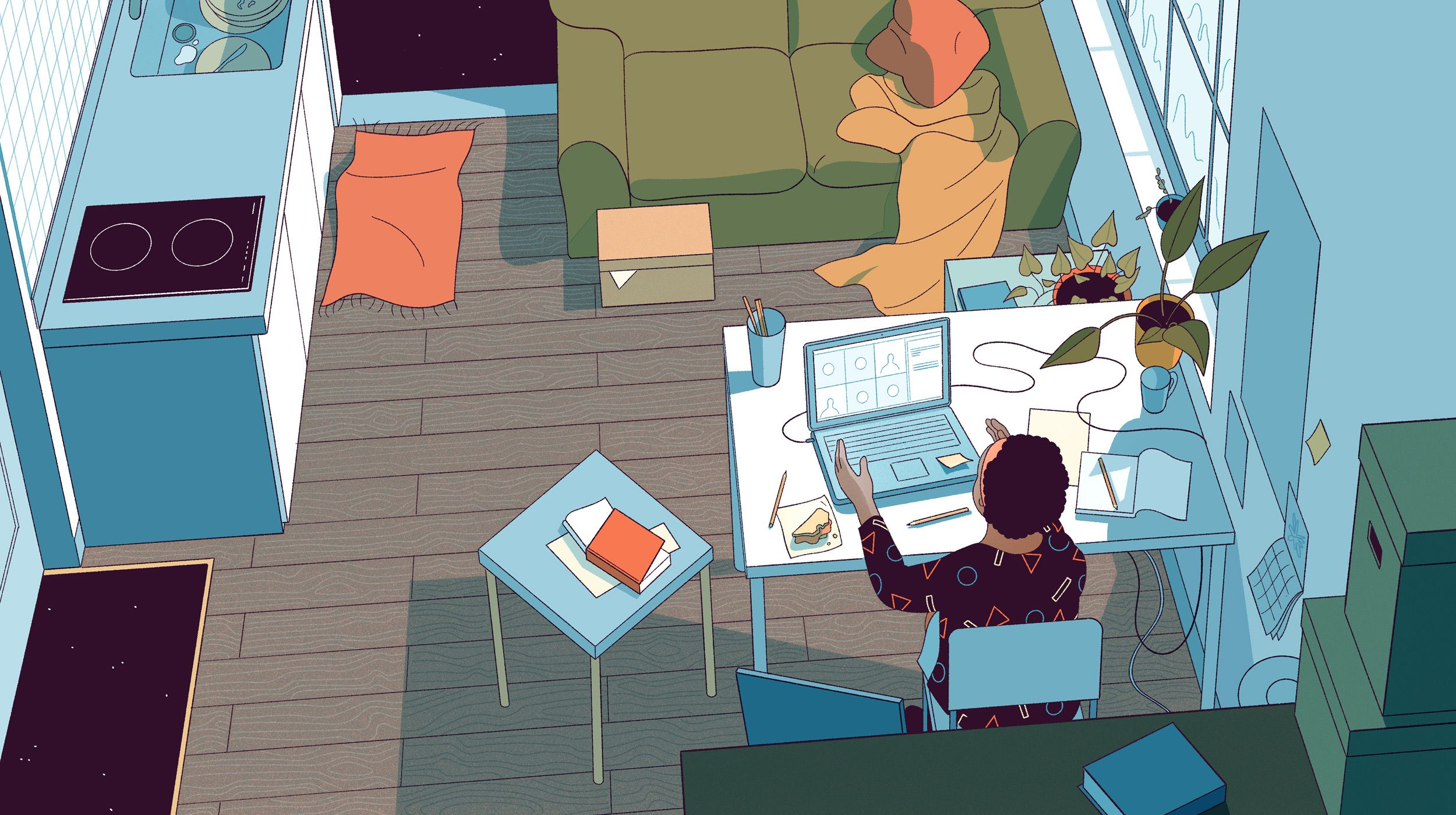 Illustration shows a teacher instructing students at her laptop from her home.