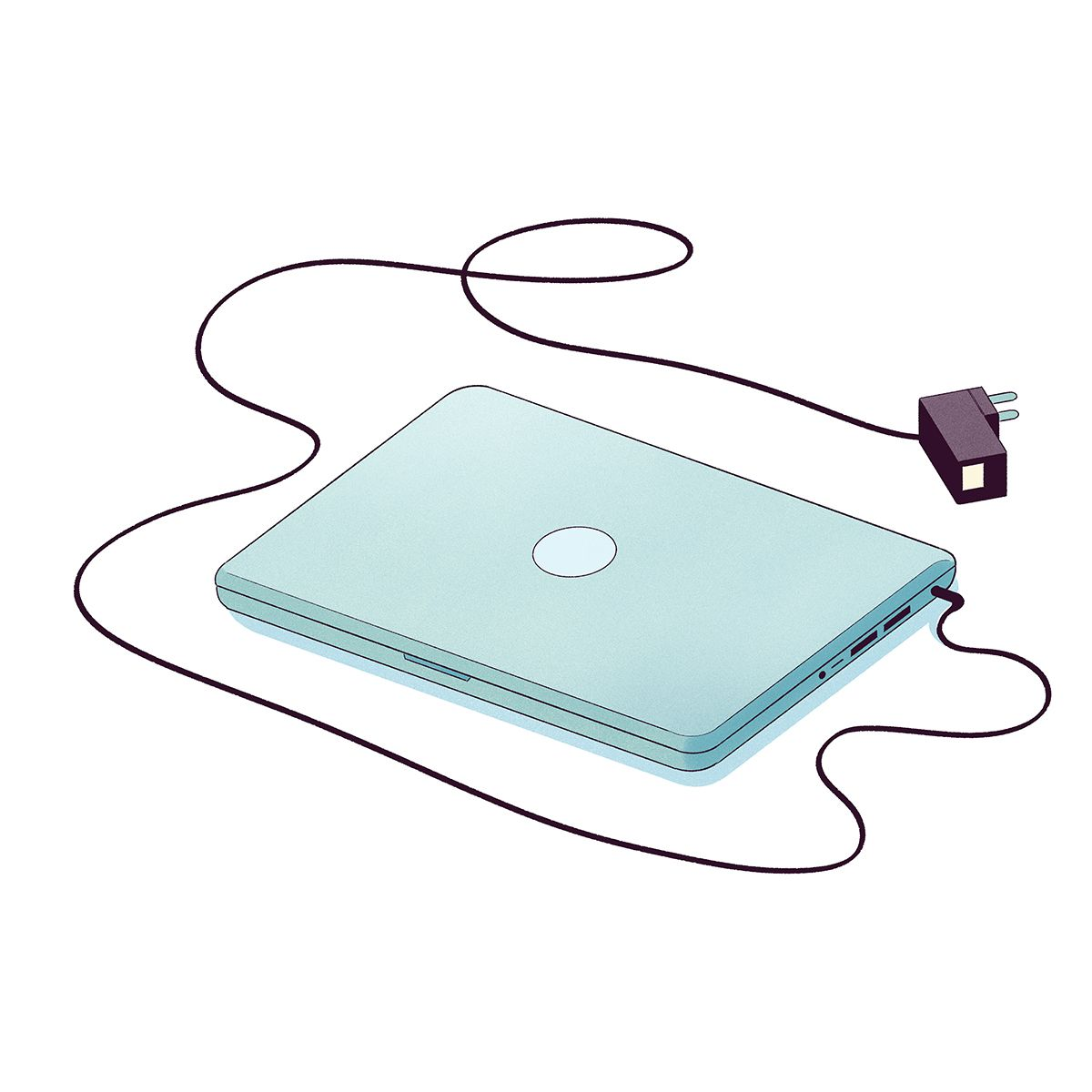 Illustration of a closed laptop with charger.