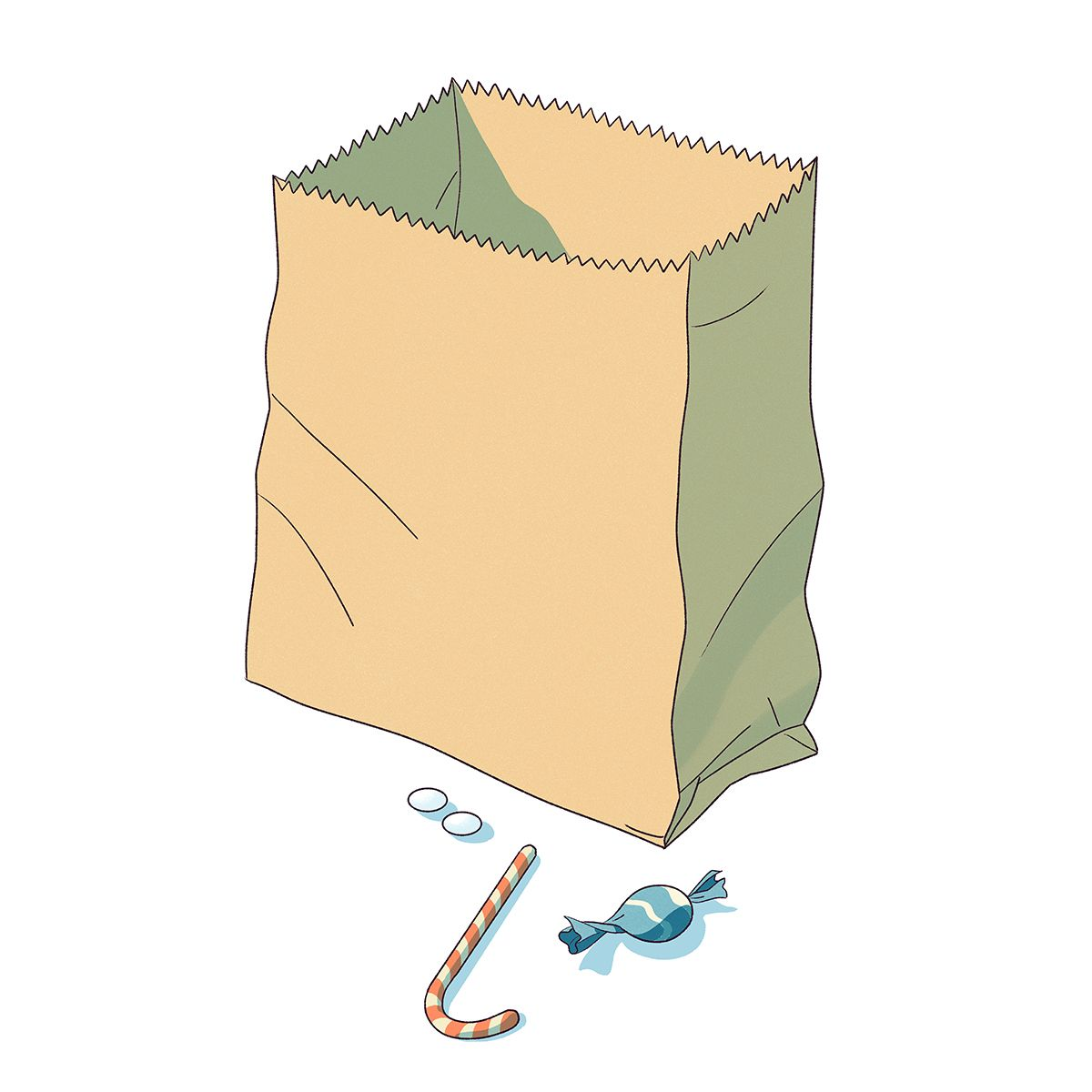 Illustration of a brown paper bag with candy.