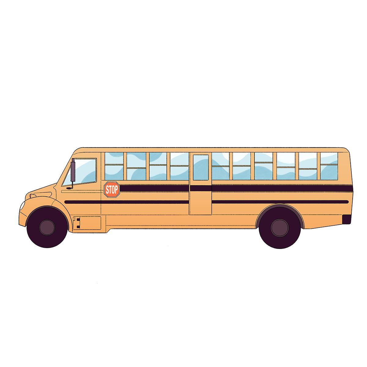 Illustration of a yellow school bus.