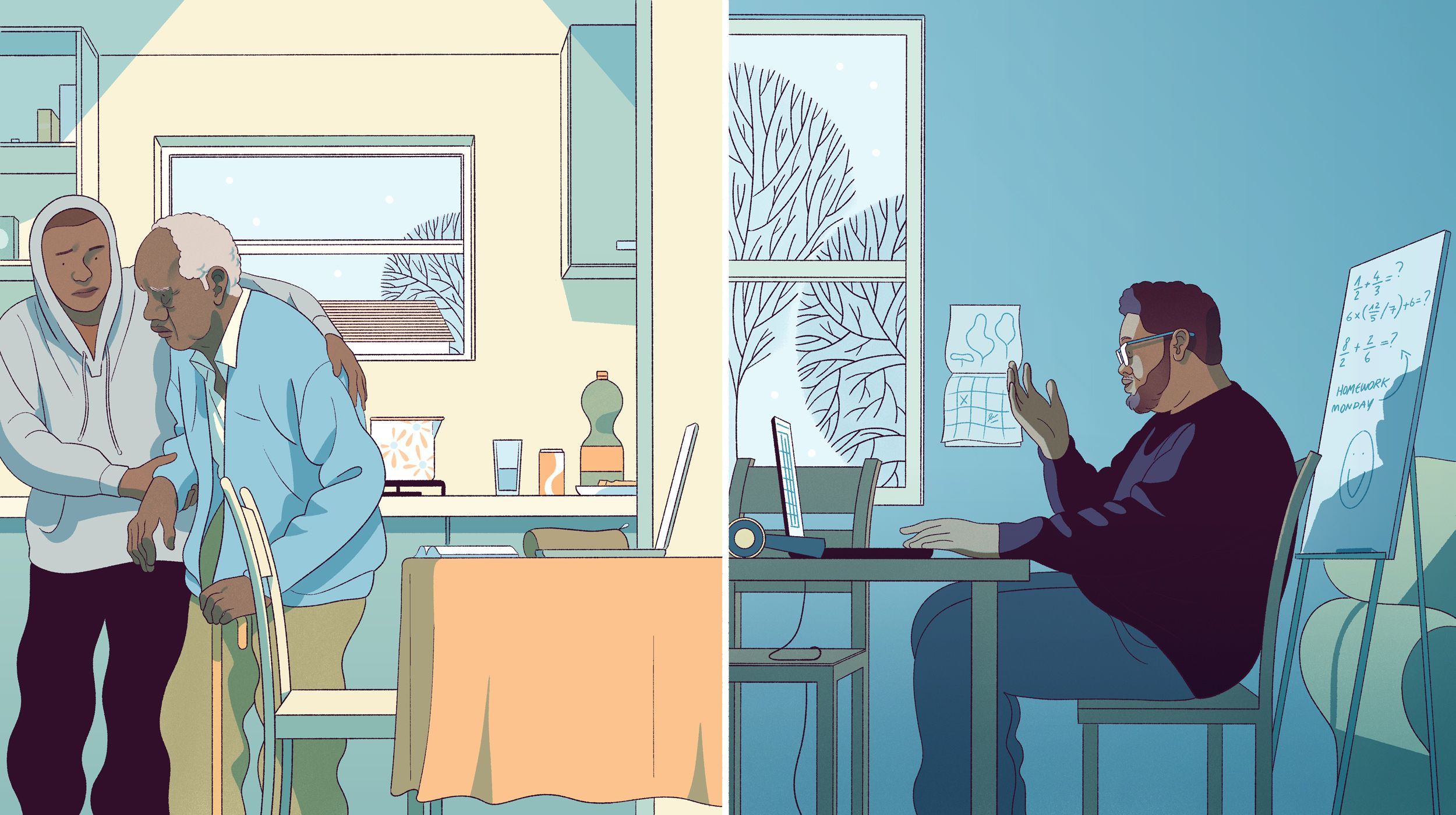 Illustration shows a split screen: on left, a student helps his elderly relative near his school laptop. At right, a teacher instructs students from his laptop at home.